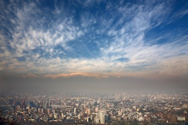 Birdeye view of Andes and Santiago, Chile, view from Cerro San Cristobal