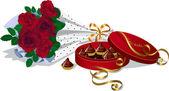 Růže a čokoládové cukrovinky