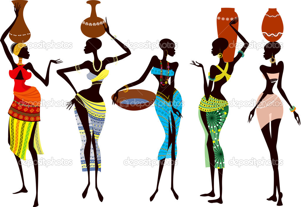 Beautiful and fragile african women stock vector