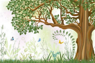 Summer background with oak tree in a meadow - vector illustration stock vector