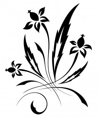 Vector black a white flower pattern