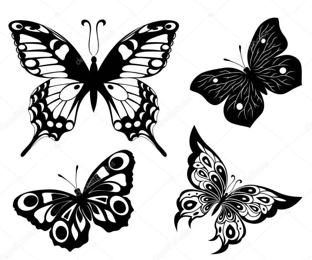 black a white set of butterflies of tattoos u2014 stock vector