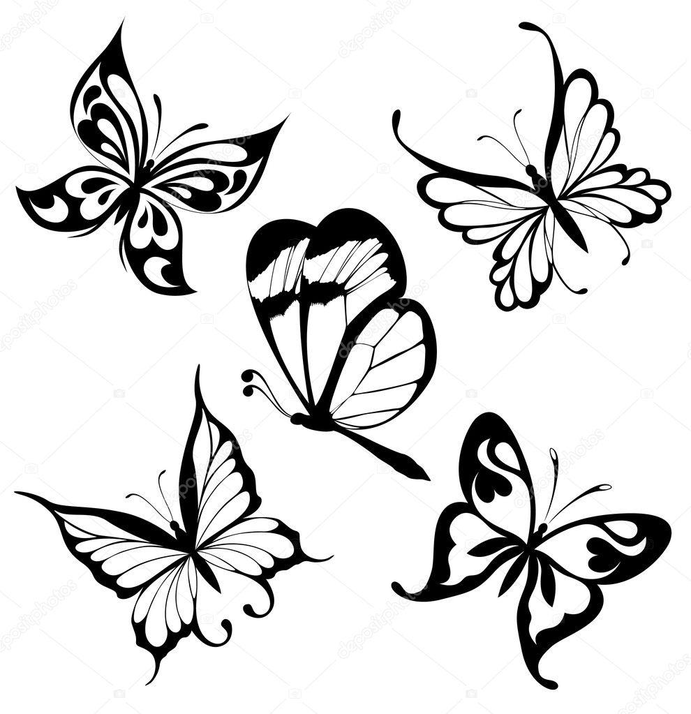 set black white butterflies of a tattoo u2014 stock vector maristep