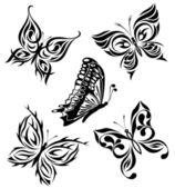Photo Set black white butterflies of a tattoo