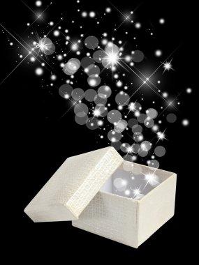 Holiday magic box isolated on black