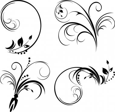 Set of ornaments. Black isolated on the white