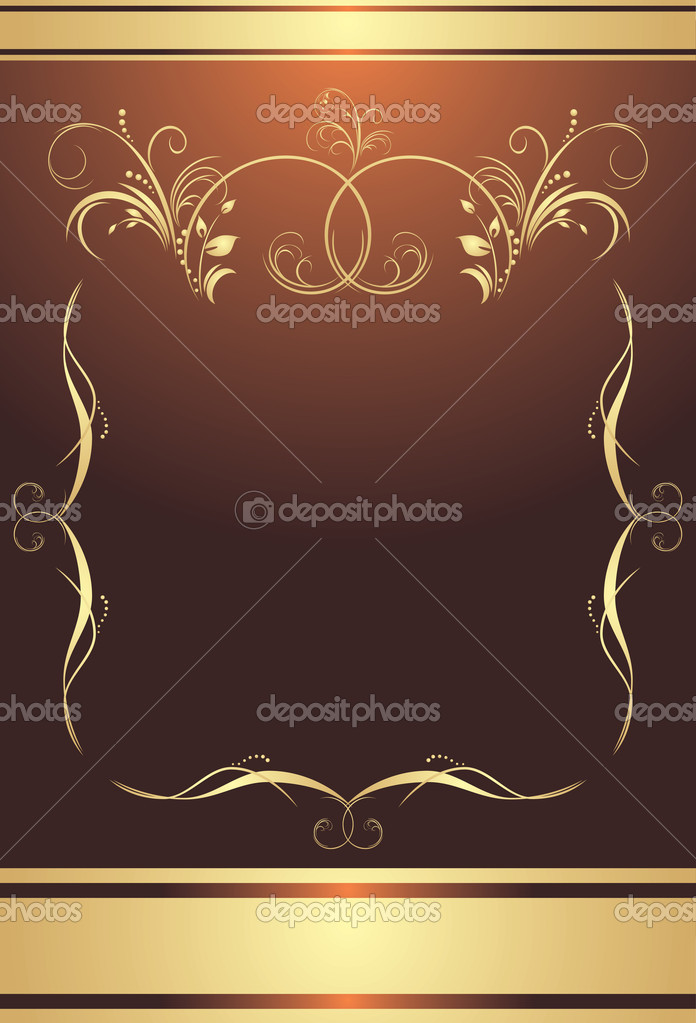 Golden frame on the brown background. Wrapping