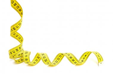 Yellow measuring tape isolated on white background stock vector