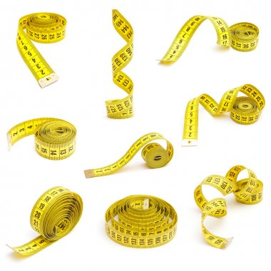 Measuring tapes isolated on white background