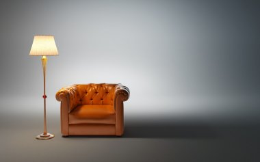 Leather armchair and classic floor lamp