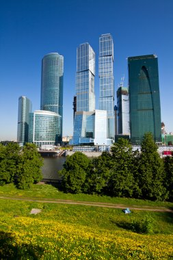 Scyscrapers of Moscow city under blue sky
