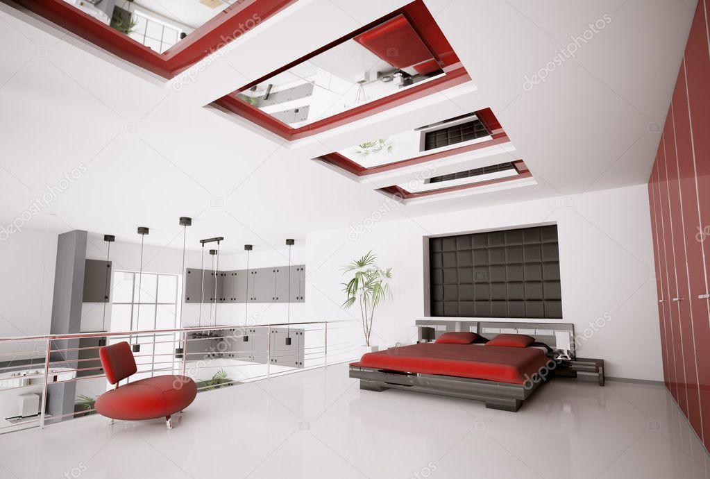 Slaapkamer Rood Zwart : Moderne slaapkamer interieur d u stockfoto scovad