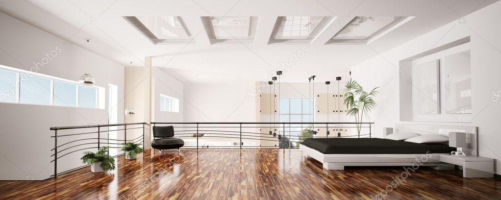 현대 침실 인테리어 파노라마 3d — 스톡 사진 © scovad #4006908
