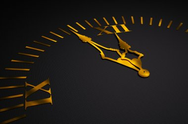 Black clock with golden hands 3d