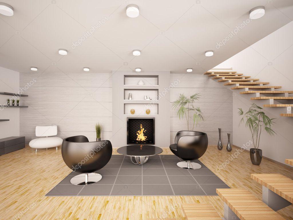 moderne interieur van woonkamer 3d render — Stockfoto © scovad #4042358