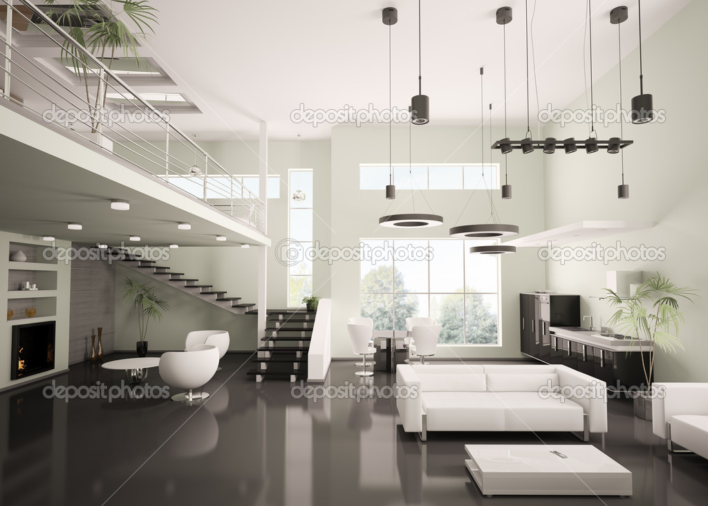 modernes Apartment interior 3d render — Stockfoto © scovad #4054856