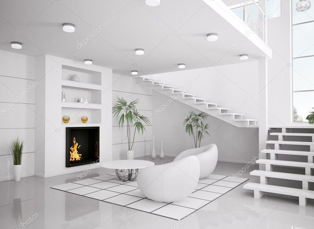 Modern wit interieur van woonkamer 3d render stockfoto for Interieur woonkamer modern