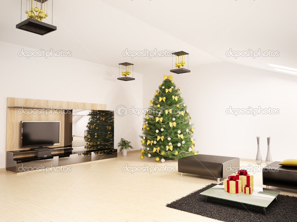 Christmas fir tree in modern living room interior 3d for Interieur woonkamer