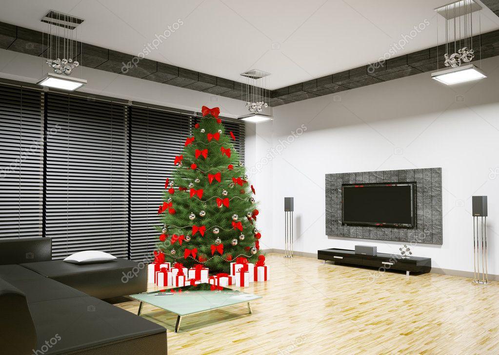 Christmas Tree In Living Room Interior 3d Render Stock