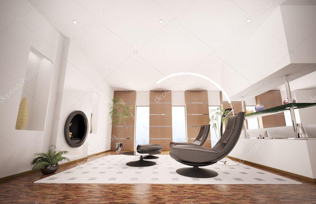 Interni moderni del salotto con caminetto 3d rendering for Interni moderni foto