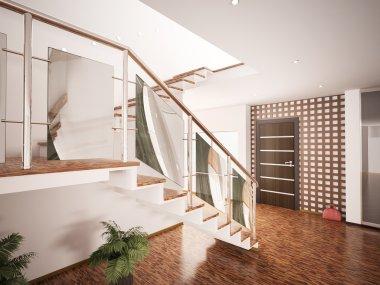 Interior of modern entrance hall 3d render