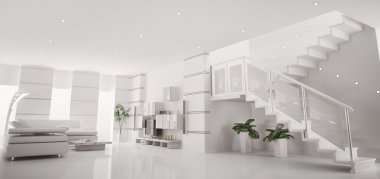 White modern apartment interior panorama 3d render