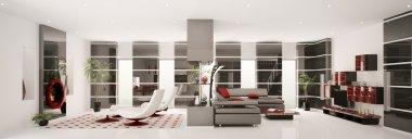 Apartment interior panorama 3d render