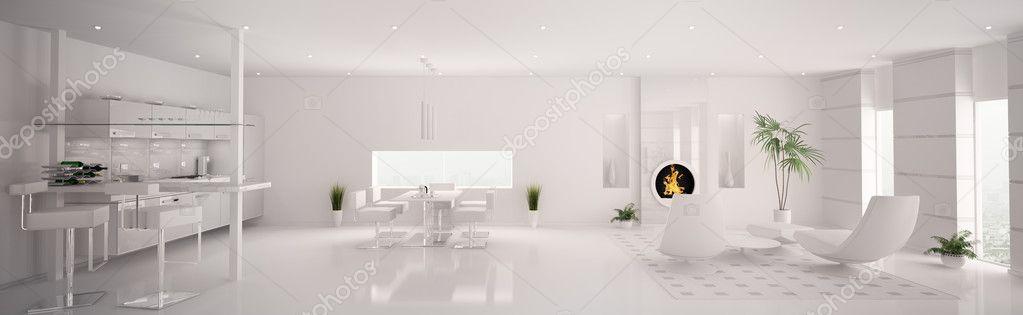 interieur van moderne witte appartement panorama 3d render ...