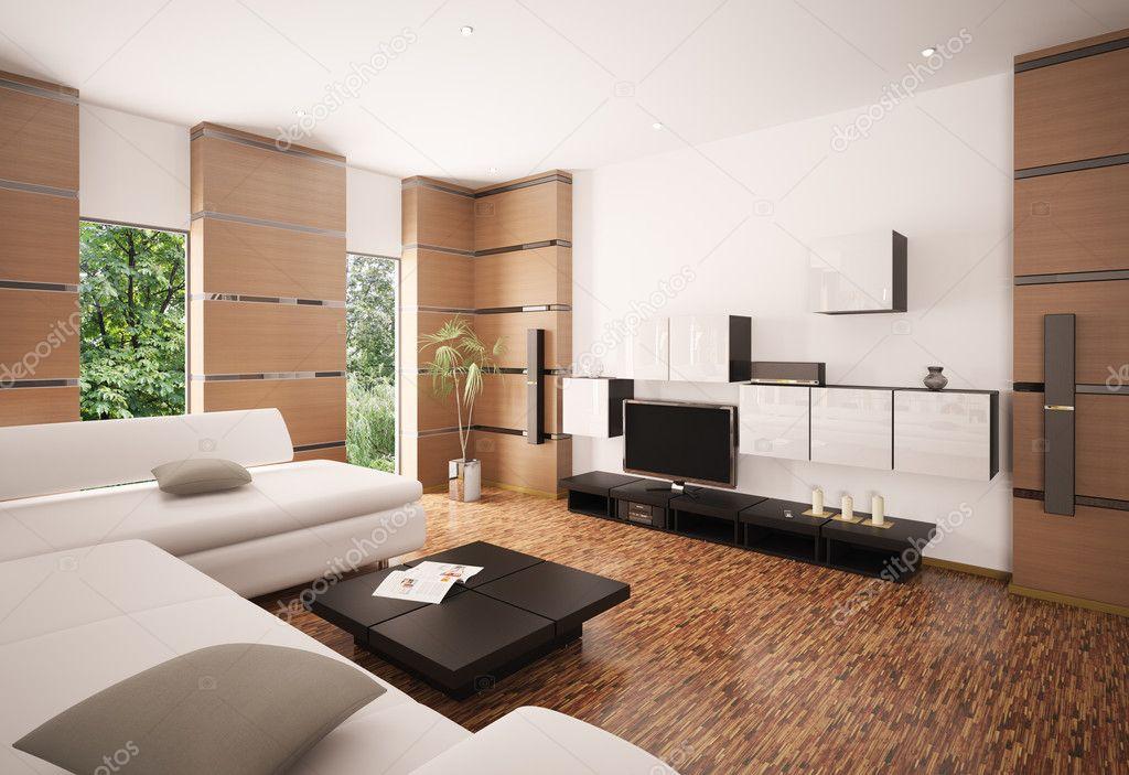 rendering 3d interni del soggiorno moderno — Foto Stock © scovad ...