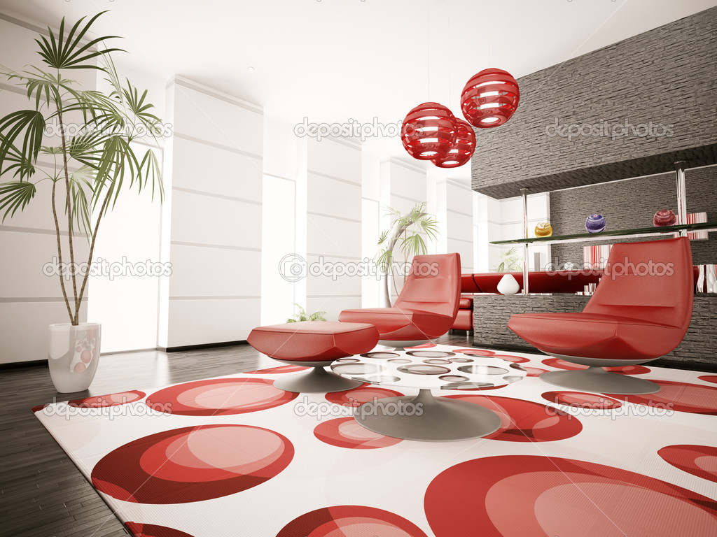 Interni moderni di render 3d soggiorno foto stock for Interni moderni foto