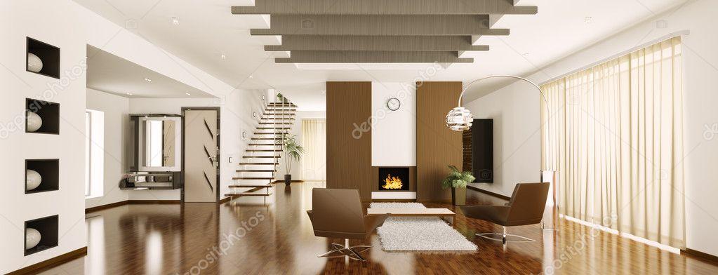 Moderno appartamento panorama interni rendering 3d foto for Appartamento moderno