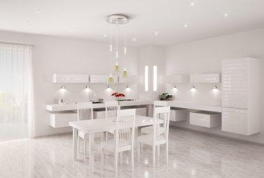 White kitchen interior 3d render
