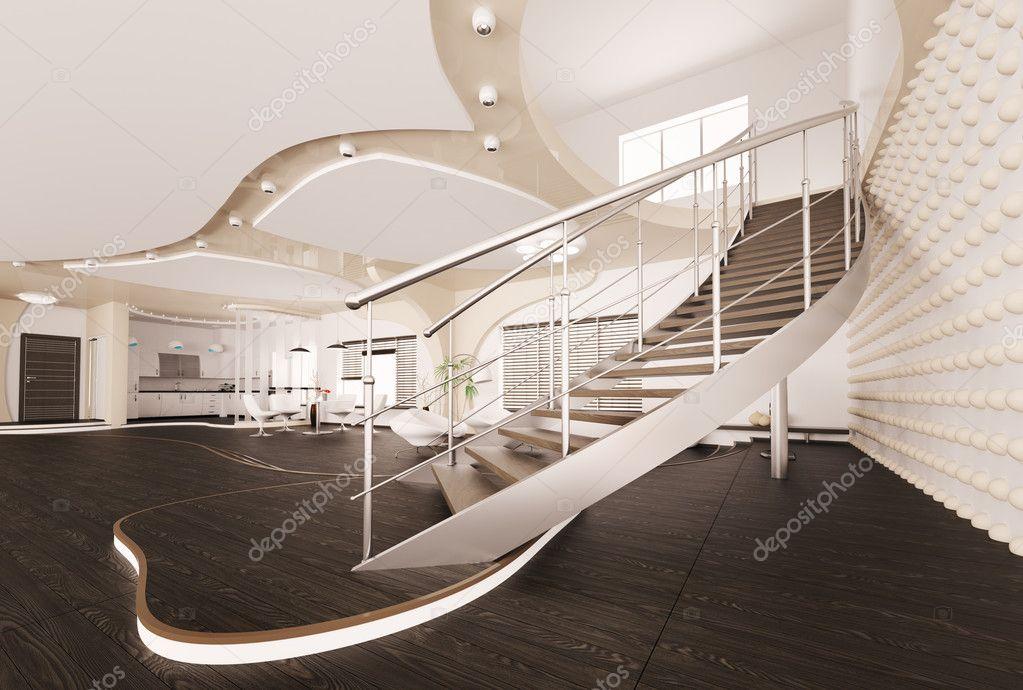 Interni moderni di render 3d soggiorno foto stock for Interni moderni