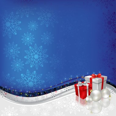 Christmas greeting gifts with balls on blue background
