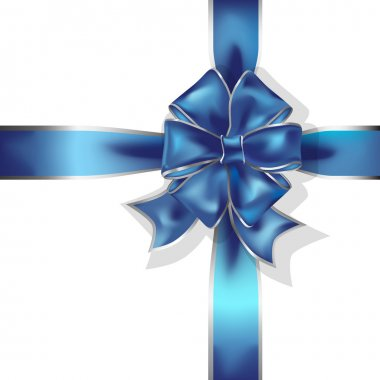 Blue gift ribbon and bow vector object