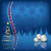 Karácsonyfa háttér kék hópelyhek golyó