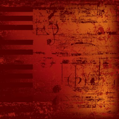 Abstract jazz background piano keys on red