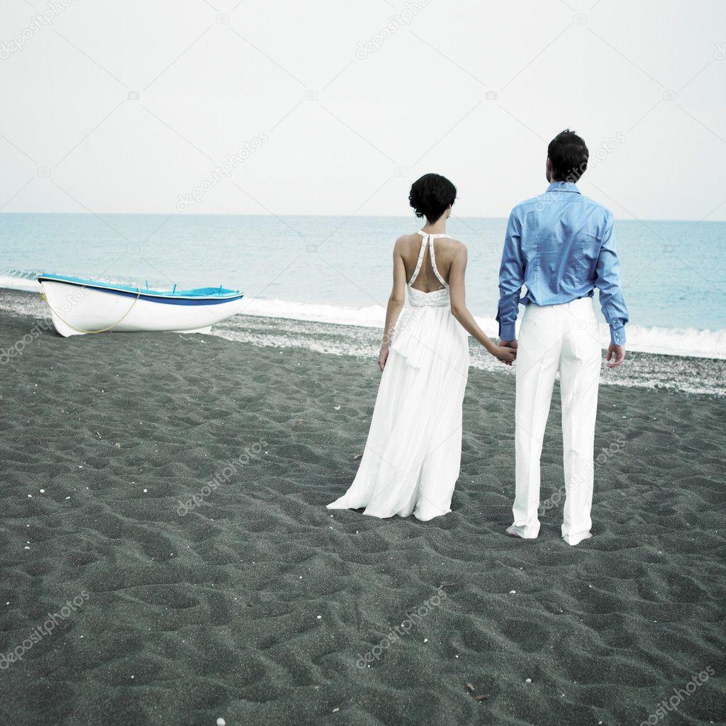 Newlyweds at the sea
