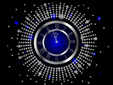 Silver New Year clock