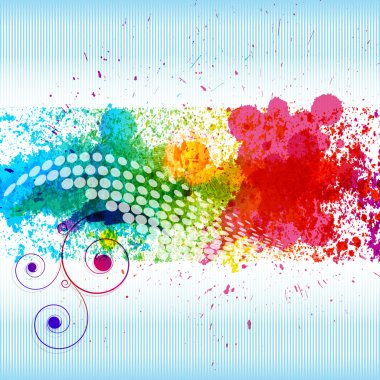 Color paint splashes. Gradient vector background on blue and white stripe background. EPS10 clip art vector