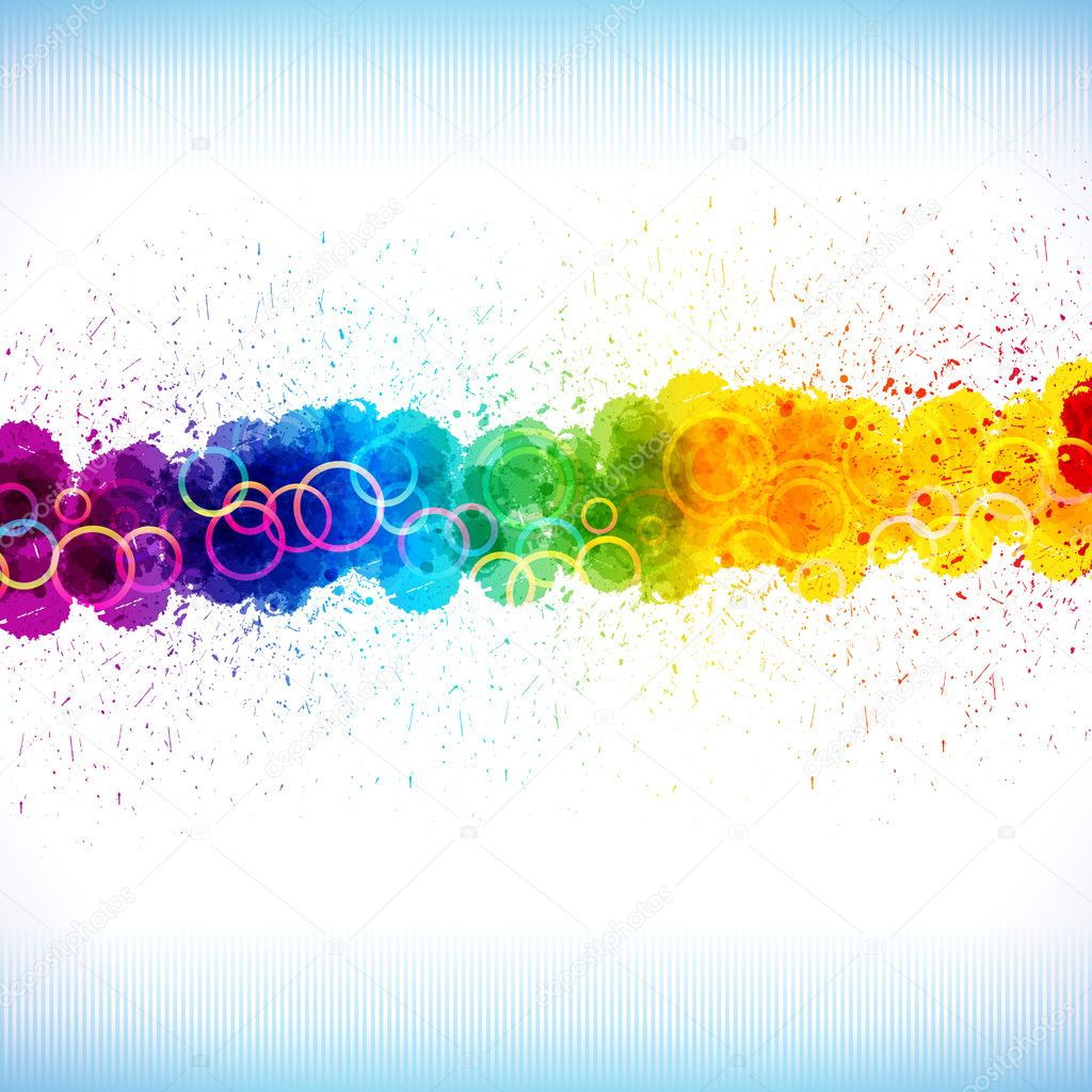 Color paint splashes. Gradient vector background on blue and whi