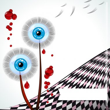 Blue-eyed dandelions - vector emo card.