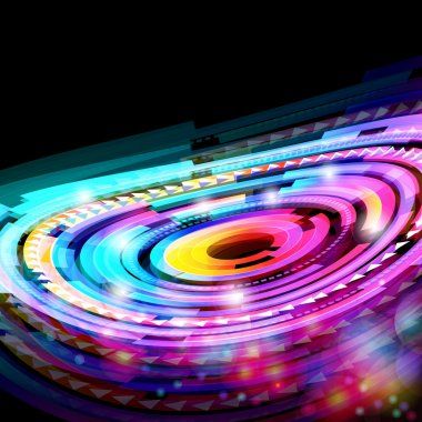 Abstract neon technology circles vector background.