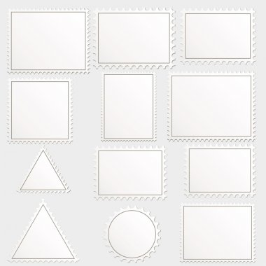 Vector big set of blank postage stamps different geometric shapes. clip art vector