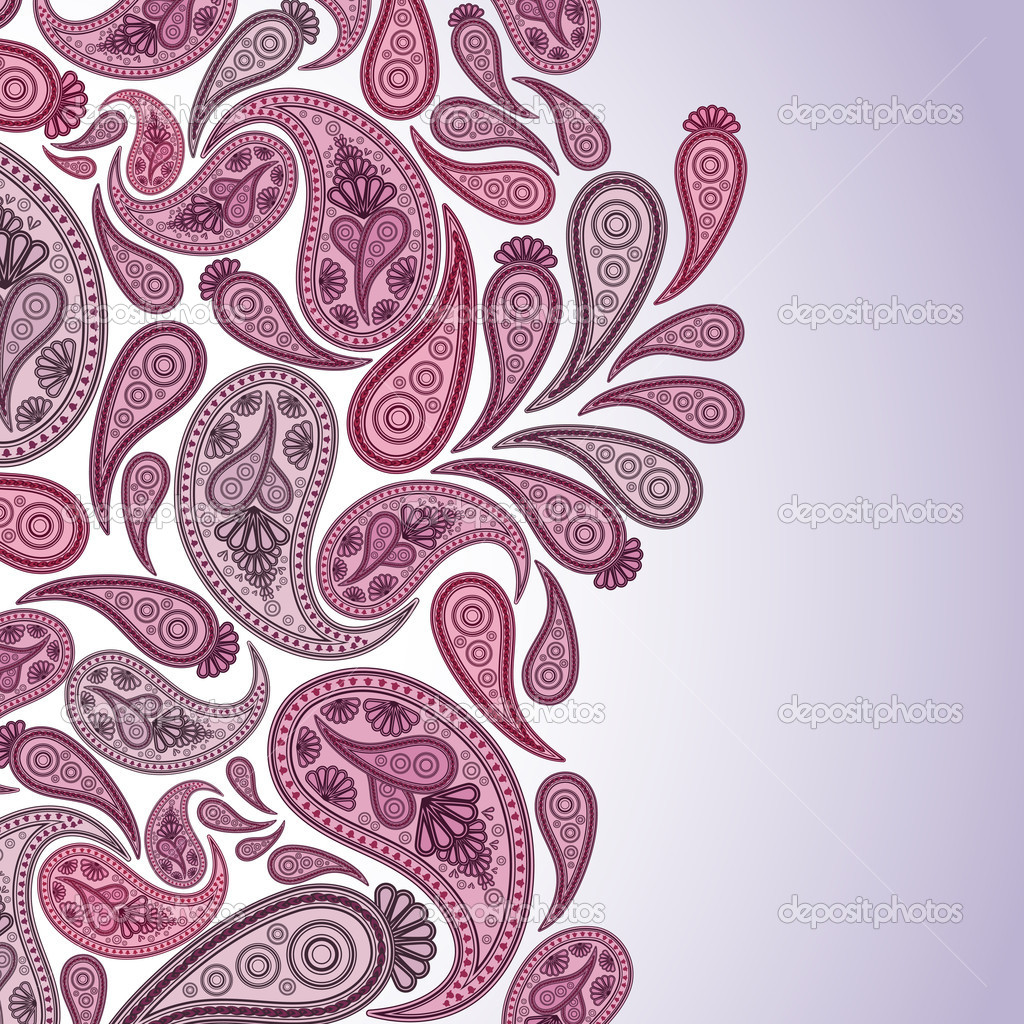 Paisley Oriental decor background. Vector illustration.