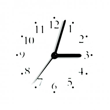 Black and white analogue clock face dial at 3:03, isolated macro silhouette