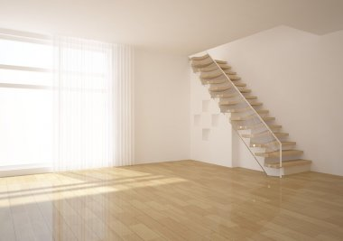 White empty room with stair