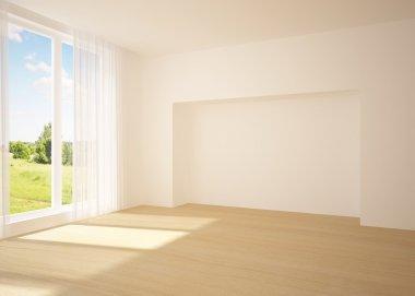 "Картина, постер, плакат, фотообои ""белая пустая комната с видом на природу "", артикул 4744816"