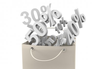 Paper bag isolated with discount rate