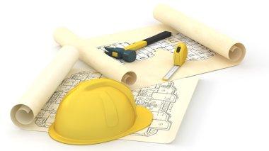 House blueprints and hard yellow had